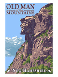 Old Man of the Mountains - New Hampshire Poster by Lantern Press 