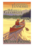 Copperhill, TN and McCaysville, GA - Canoe Scene Print by Lantern Press