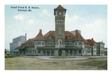 Portland, Maine - Grand Trunk Railroad Station Exterior View Prints by  Lantern Press