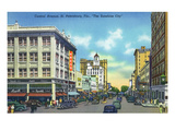 St. Petersburg, Florida - View Down Central Avenue Posters by  Lantern Press