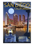 San Diego, California - Skyline at Night Prints by  Lantern Press