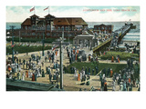 Long Beach, California - Crowds Outside Auditorium and Pier Print by  Lantern Press