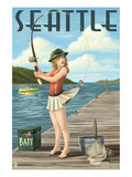 Fishing Pinup Girl - Seattle, Wa Print by  Lantern Press