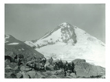 Mt. Hood, Oregon - Hikers with Horses Photograph Print by  Lantern Press