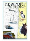 Newport, Oregon - Nautical Chart Affiches par  Lantern Press