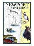 Newport, Oregon - Nautical Chart Prints by  Lantern Press