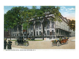 Saratoga Springs, New York - United States Hotel from Street Corner Prints by  Lantern Press