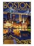 Boston, Massachusetts, Silueta de la ciudad de noche Láminas por  Lantern Press