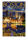 Boston, Massachusetts - Skyline at Night Prints by Lantern Press 