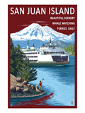 San Juan Island, Washington - Ferry in Passage Poster by  Lantern Press
