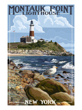 Montauk Point Lighthouse - New York Premium Giclee Print by  Lantern Press