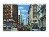 Los Angeles, California - Crowds at Seventh and Broadway Poster von  Lantern Press
