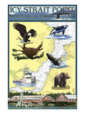 Icy Strait Point Nautical Chart - Hoonah, Alaska Prints by  Lantern Press