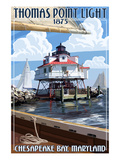 Thomas Point Light - Chesapeake Bay, Maryland Posters par  Lantern Press
