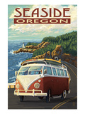 VW Van Coastal Drive - Seaside, Oregon Poster by  Lantern Press