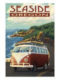 VW Van Coastal Drive - Seaside, Oregon Posters by  Lantern Press