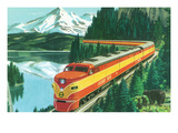 California - Southern Pacific Daylight Train Passing Mt Shasta Posters by Lantern Press