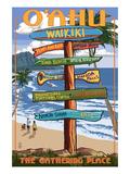 Waikiki, Oahu, Hawaii - Sign Destinations Poster von  Lantern Press