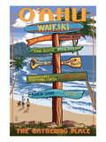Waikiki, Oahu, Hawaii - Sign Destinations Posters by Lantern Press 