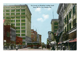 Los Angeles, California - South View Down Broadway from 5th Street Prints by  Lantern Press