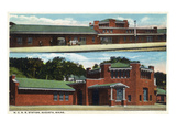 Augusta, Maine - Exterior View of Maine Central Rail Station Prints by  Lantern Press