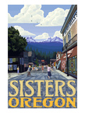 Sisters, Oregon - Town Scene and Mountains Quilt Design Prints by  Lantern Press