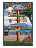 Portland, Oregon Destinations Sign - Powell's Books Poster by  Lantern Press