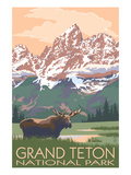 Grand Teton National Park - Moose and Mountains Stampa giclée premium di  Lantern Press