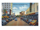 West Palm Beach, Florida - View Down Clematis Street Poster von  Lantern Press