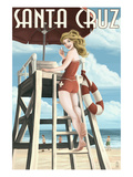 Lifeguard Pinup Girl - Santa Cruz, California Posters by  Lantern Press