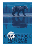 Chimney Rock State Park, NC - Bear at Night Prints by  Lantern Press