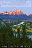 Grand Teton National Park - Snake River Overlook Posters par  Lantern Press