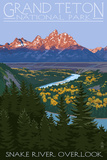 Grand Teton National Park - Snake River Overlook Poster by  Lantern Press
