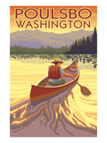 Poulsbo, Washington - Canoe Scene Print by  Lantern Press
