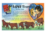 The Love Brand Storiette, Couple Kissing and Cattle Print by  Lantern Press