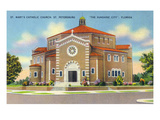 St. Petersburg, Florida - St. Mary's Catholic Church Prints by  Lantern Press