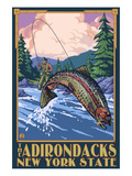 The Adirondacks, New York State - Fly Fisherman Posters by  Lantern Press