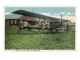 US Army Aviators Inspecting an Aeroplane Poster by  Lantern Press
