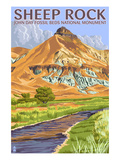 Sheep Rock - John Day Fossil Beds, Oregon Art by Lantern Press 