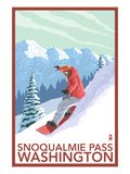 Snowboarder Scene - Snoqualmie Pass, Washington Poster by  Lantern Press