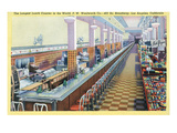 Los Angeles, California - Longest Lunch Counter in Woolworth on Broadway Prints by  Lantern Press