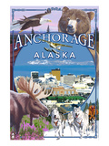 Anchorage, Alaska Views Print by  Lantern Press