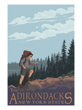 The Adirondacks, New York State - Hiking Scene Print by  Lantern Press