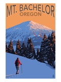 Mt. Bachelor and Skier - Oregon Posters by Lantern Press 