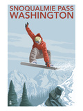 Snowboarder Jumping - Snoqualmie Pass, Washington Prints by  Lantern Press