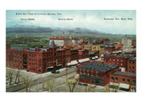 Colorado Springs, Colorado - Aerial View of Town, Alamo and Antlers Hotels Posters by  Lantern Press