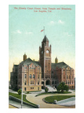 Los Angeles, California - Exterior View of County Court House from Temple and Broadway Prints by  Lantern Press