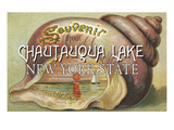 Souvenir from Chautauqua Lake, New York Shell and Sunset Posters by Lantern Press 