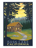 Bass Lake, California - Cabin Scene Art by  Lantern Press