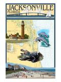 Jacksonville, Florida - Nautical Chart Prints by  Lantern Press